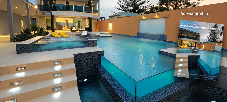 Award winning concrete swimming pool spa builders newcastle port stephens hunter valley for Swimming pool entertaining areas